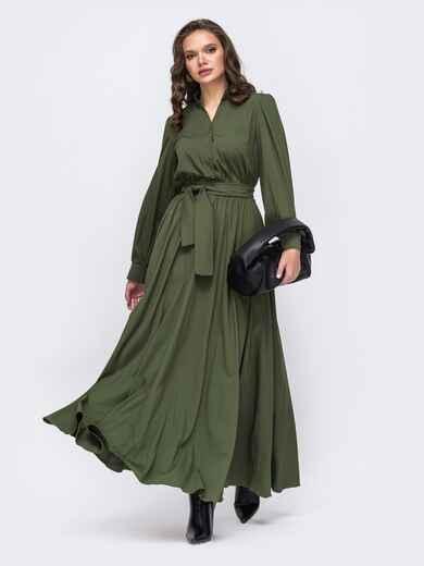 Платье батал в пол с расклешенной юбкой хаки 51347, фото 1