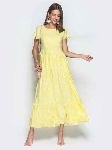 Принтованное платье-макси с расклешенной юбкой желтое 39481, фото 1
