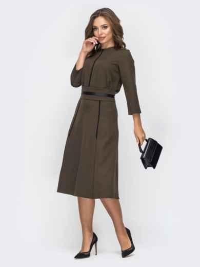 Расклешенное платье цвета хаки 44958, фото 2