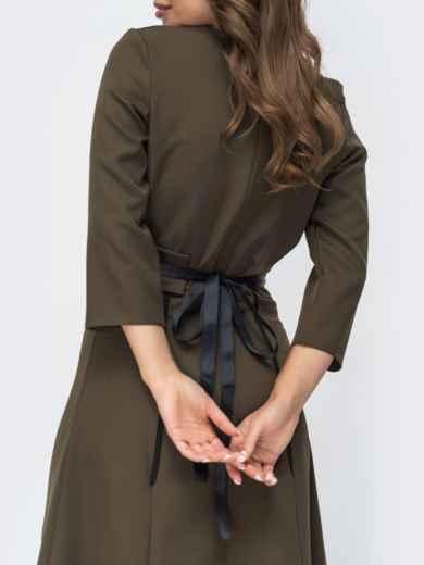 Расклешенное платье цвета хаки 44958, фото 4