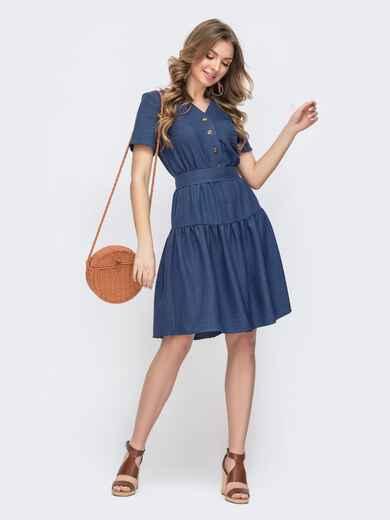 Расклешенное синее платье на пуговицах 47007, фото 1