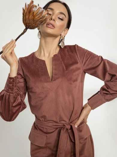 Розовое платье из вельвета с накладными карманами - 44236, фото 2 – интернет-магазин Dressa