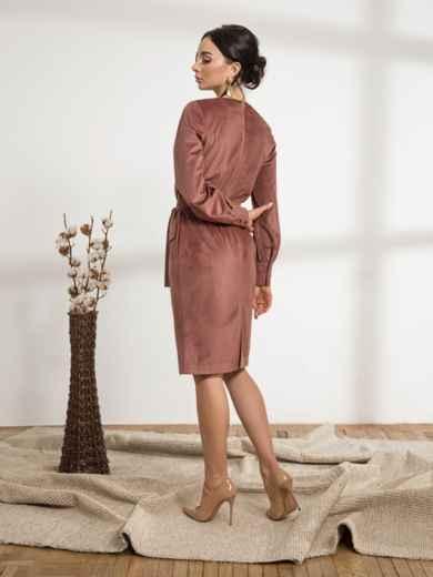 Розовое платье из вельвета с накладными карманами - 44236, фото 3 – интернет-магазин Dressa