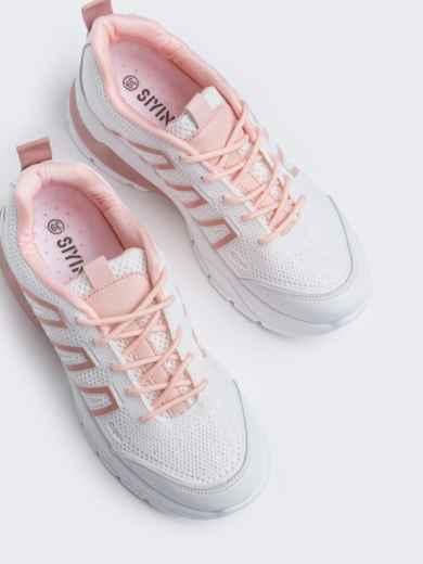 Белые кроссовки из искусственного материала - 45979, фото 2 – интернет-магазин Dressa