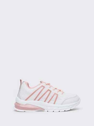 Белые кроссовки из искусственного материала - 45979, фото 3 – интернет-магазин Dressa
