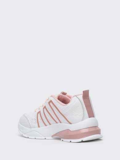 Белые кроссовки из искусственного материала - 45979, фото 4 – интернет-магазин Dressa