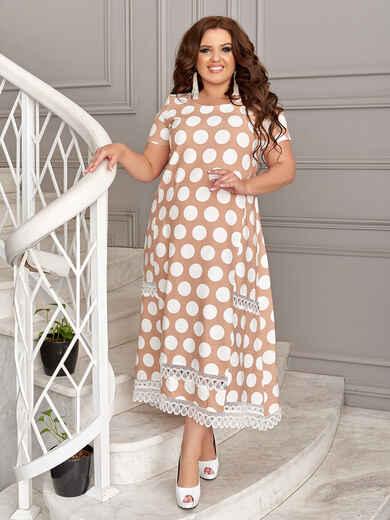 Бежевое платье батал в белый горох 49194, фото 1