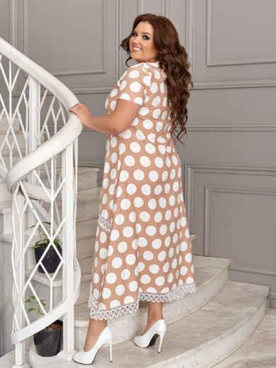 Бежевое платье батал в белый горох 49194, фото 3