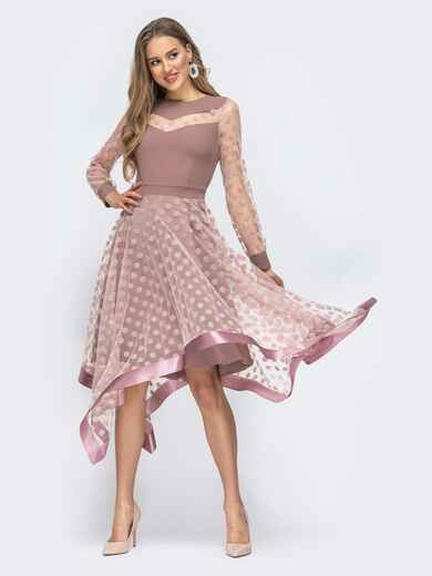 Бежевое платье в горох с рукавами и юбкой из фатина 45846, фото 1