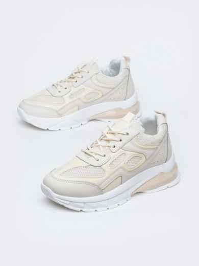 Бежевые кроссовки из искусственной кожи 45980, фото 2