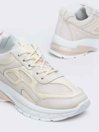 Бежевые кроссовки из искусственной кожи 45980, фото 3