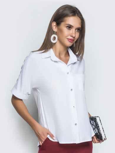 Блузка с удлиненной спинкой и разрезами белая 39886, фото 2