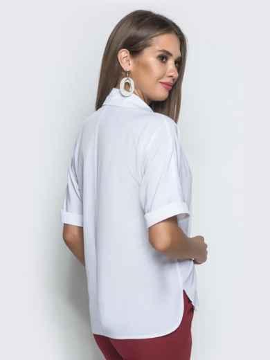 Блузка с удлиненной спинкой и разрезами белая 39886, фото 3