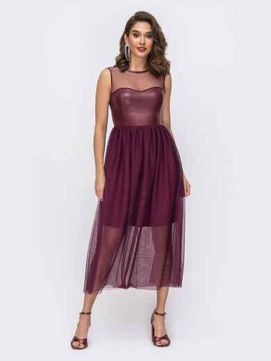 Бордовое платье с баской и лифом из эко-кожи - 43056, фото 1 – интернет-магазин Dressa
