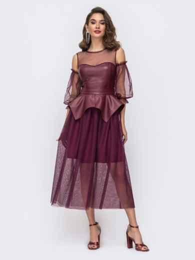 Бордовое платье с баской и лифом из эко-кожи - 43056, фото 3 – интернет-магазин Dressa