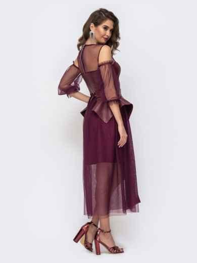 Бордовое платье с баской и лифом из эко-кожи - 43056, фото 4 – интернет-магазин Dressa