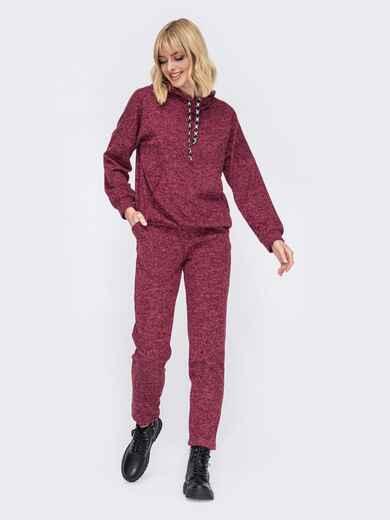 Бордовый костюм из кофты с капюшоном и зауженными брюками 52799, фото 1
