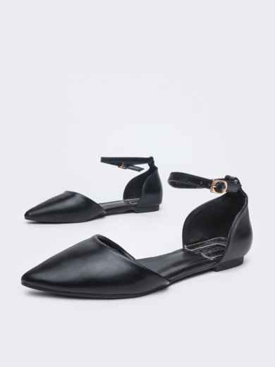 Босоножки из искусственной кожи чёрные - 45973, фото 2 – интернет-магазин Dressa