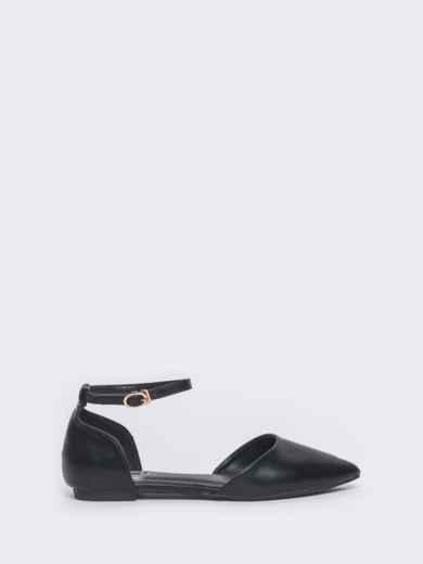 Босоножки из искусственной кожи чёрные - 45973, фото 3 – интернет-магазин Dressa