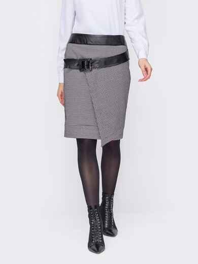 Черная юбка в гусиную лапку со вставками из экокожи 52958, фото 1
