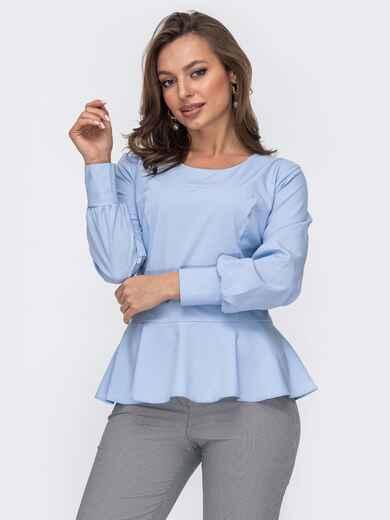 Голубая блузка из софта с баской 52956, фото 1