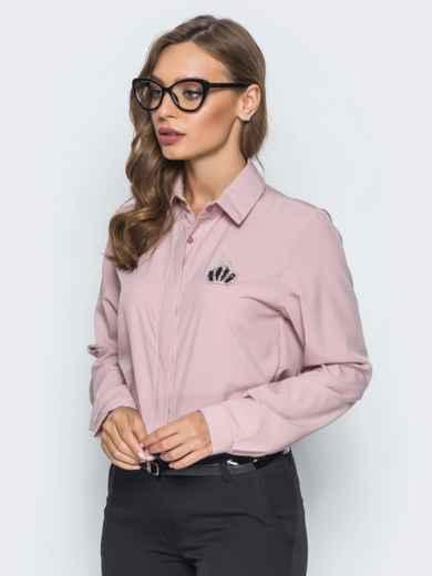 Классическая пудровая блузка с накаткой из страз - 14100, фото 3 – интернет-магазин Dressa