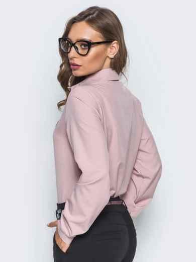 Классическая пудровая блузка с накаткой из страз - 14100, фото 4 – интернет-магазин Dressa