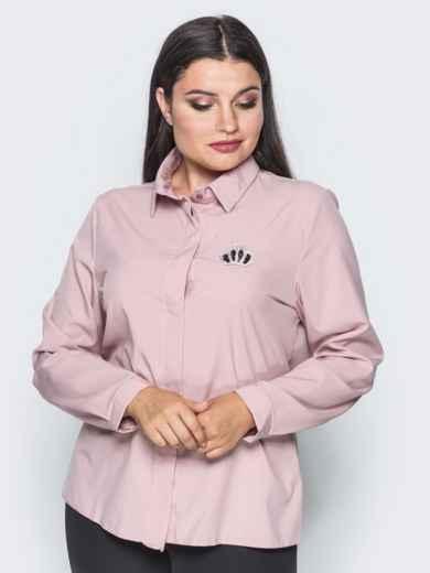 Классическая пудровая блузка с накаткой из страз - 14100, фото 5 – интернет-магазин Dressa