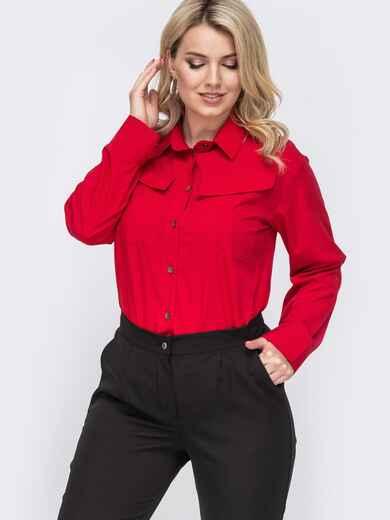 Красная рубашка с накладными карманами и диагональными клапанами 49866, фото 1