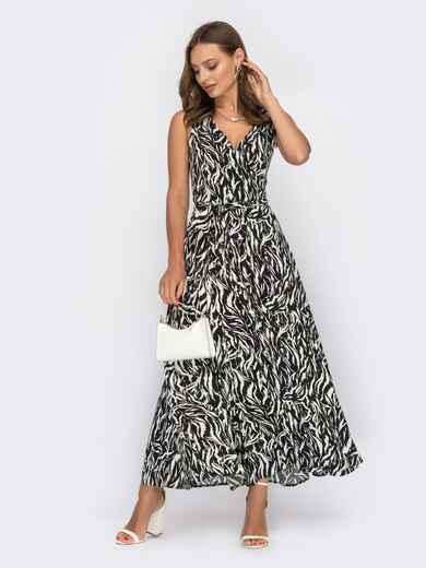 Принтованное платье на запах без рукава черное 53964, фото 1