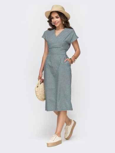 Приталенное платье из хлопка в клетку с V-вырезом зеленое - 49153, фото 2 – интернет-магазин Dressa