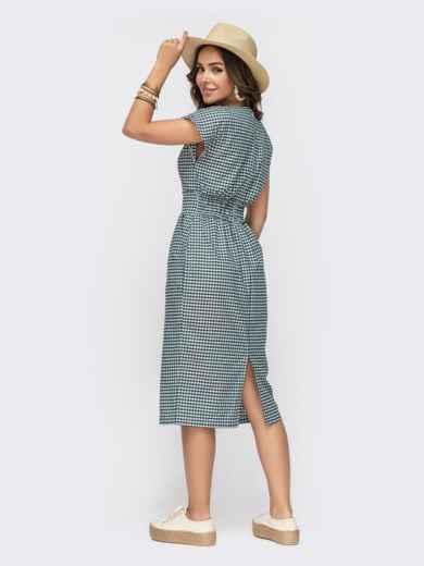 Приталенное платье из хлопка в клетку с V-вырезом зеленое - 49153, фото 3 – интернет-магазин Dressa