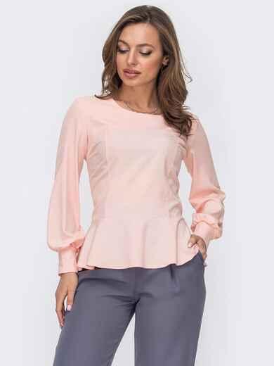 Пудровая блузка из софта с баской 52957, фото 1