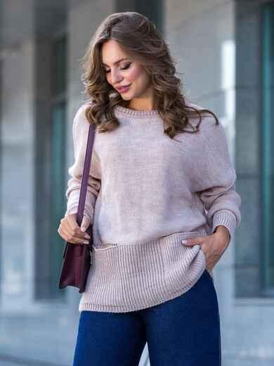 Пудровый свитер с вырезом лодочка и накладными карманами - 41059, фото 1 – интернет-магазин Dressa