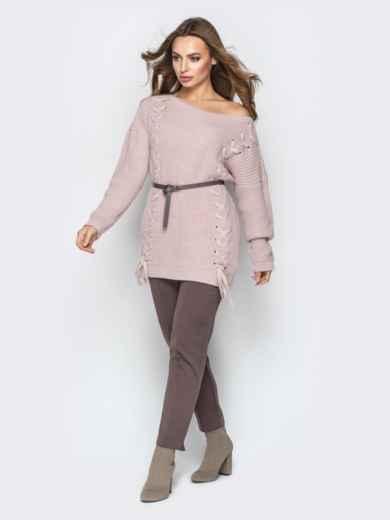 Розовый свитер oversize с прошитыми косами спереди - 20139, фото 2 – интернет-магазин Dressa