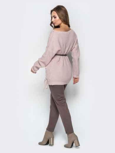 Розовый свитер oversize с прошитыми косами спереди - 20139, фото 3 – интернет-магазин Dressa