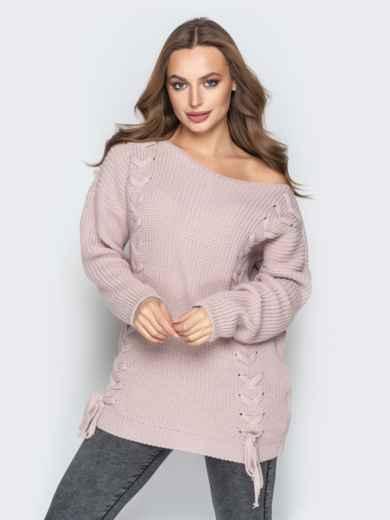 Розовый свитер oversize с прошитыми косами спереди - 20139, фото 4 – интернет-магазин Dressa