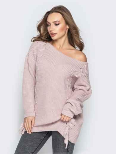 Розовый свитер oversize с прошитыми косами спереди - 20139, фото 5 – интернет-магазин Dressa
