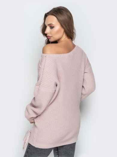 Розовый свитер oversize с прошитыми косами спереди - 20139, фото 6 – интернет-магазин Dressa