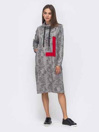 Свободное платье с вышивкой и воротником-хомут серое 41478, фото 1