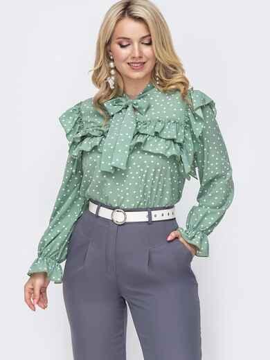 Зеленая блузка большого размера с воротником аскот  49817, фото 1