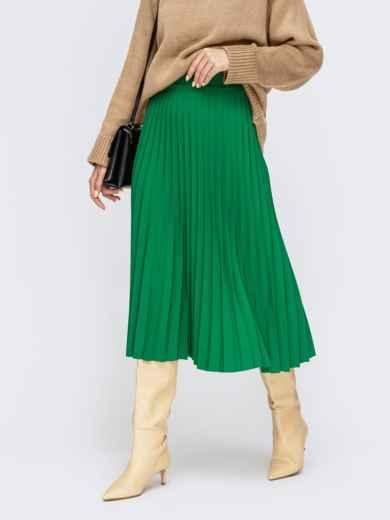 Зелёная юбка-плиссе длины миди 55421, фото 1