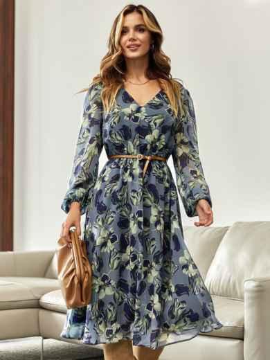 Шифоновое платье с цветочным принтом и V-образным вырезом голубое 55205, фото 1