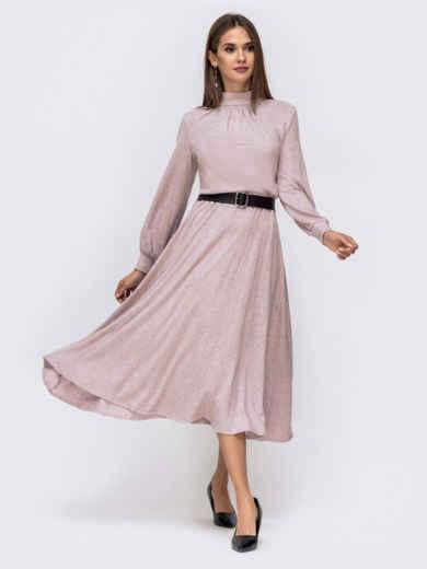 Расклешенное платье-макси с резинкой по талии пудровое 41334, фото 1
