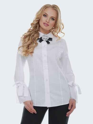 Белая блузка с рукавом-колокол на завязках 22309, фото 1
