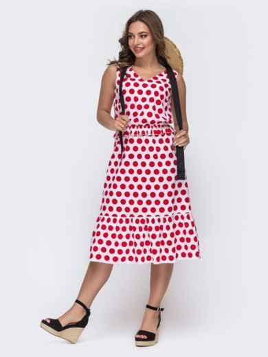 Белое платье в красный горох с воланом по низу - 48052, фото 2 – интернет-магазин Dressa