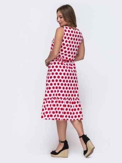 Белое платье в красный горох с воланом по низу - 48052, фото 3 – интернет-магазин Dressa