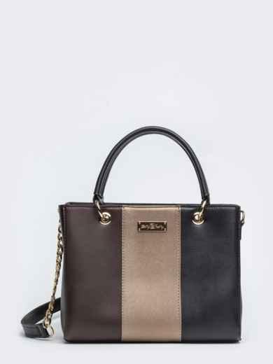 Чёрная сумка-тоут с контрастными вставками - 20555, фото 2 – интернет-магазин Dressa