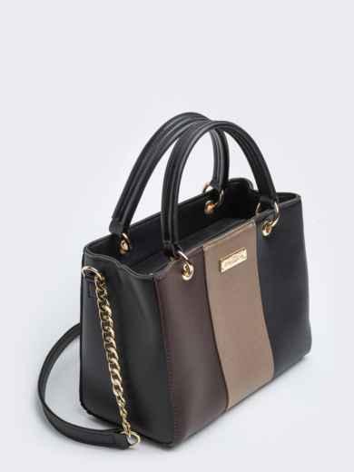 Чёрная сумка-тоут с контрастными вставками - 20555, фото 3 – интернет-магазин Dressa