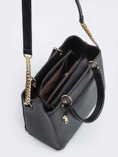 Чёрная сумка-тоут с контрастными вставками - 20555, фото 5 – интернет-магазин Dressa